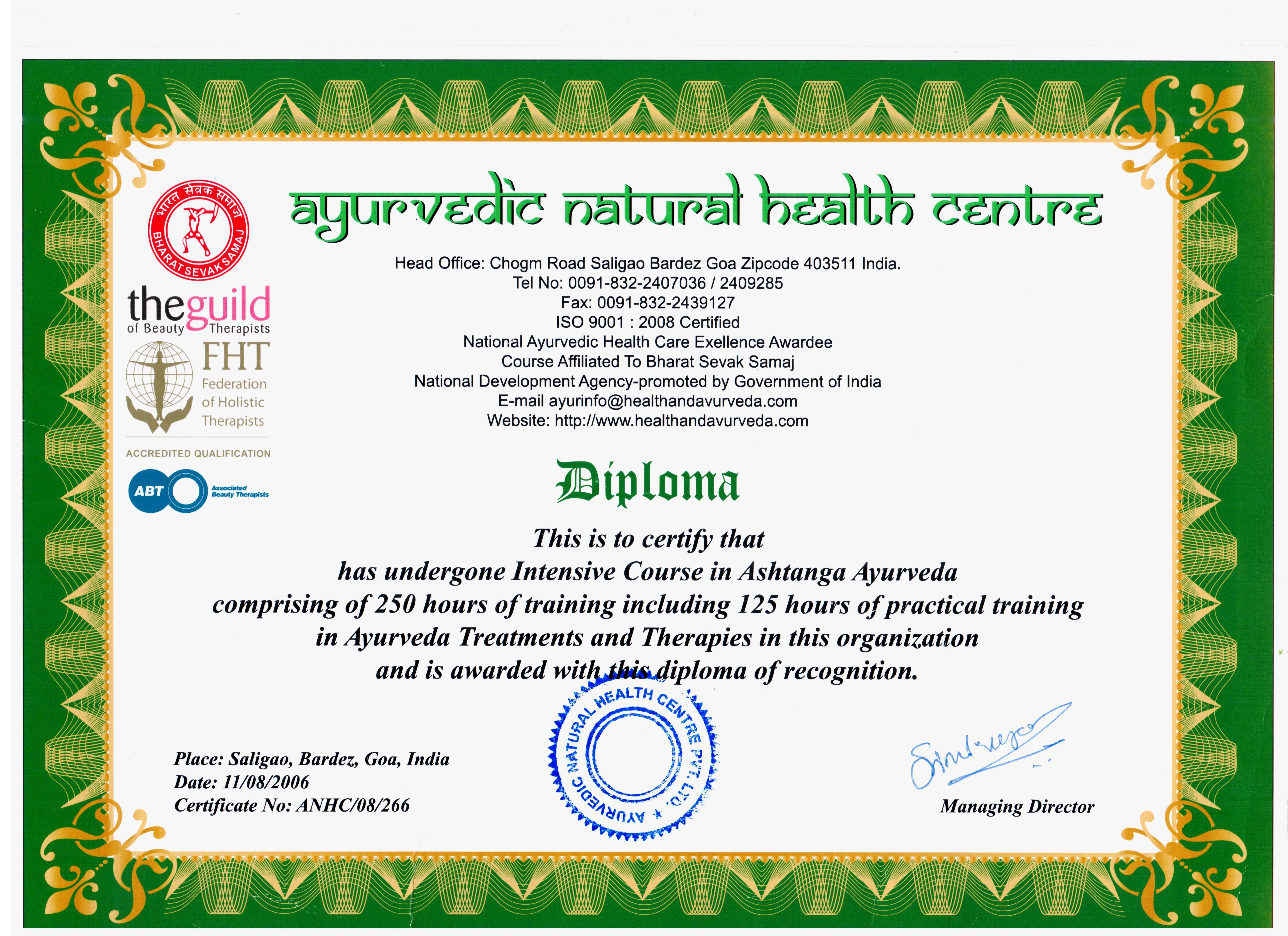 Диплом Ayurveda Natural Health Centre
